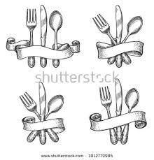 how to set a table with silverware cutlery sketch vintage dinner table silverware stock vector