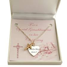baptism engraving engraved christening necklace with gold cross jewels 4
