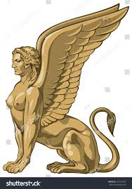 sphinx demon esoteric wisdom ancient greek stock vector 132156767