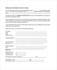 sample 30 day notice to vacate apartment printable 30 day notice