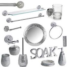 bathroom accessories silver mosaic bathroom accessories set silver sparkle mirror