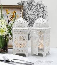 small white scrollwork moroccan table lamp electric lantern