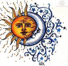 sun and moon love tattoo design