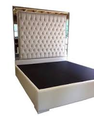 King Size Platform Bed White Faux Leather King Size Bed Tufted Upholstered Bed Platform