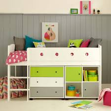 frooti midsleeper bed chest of drawers u0026 bookcase limewhitegrey
