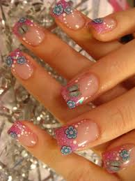 cute glamorous glitzy glam nail art design with cute flower and