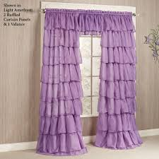 Lilac Curtains Sheer Voile Ruffled Window Treatment