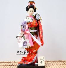 japanese geisha puppet doll silk kimono doll ornaments and