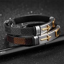 man bracelet cross images Classic stainless steel cross bracelet for men simple black brown jpg