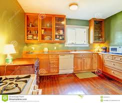 green kitchen with wood cabinets stock photo image 26320310