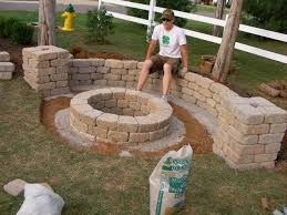 Nice Backyard Ideas by Amazing Patio With Rustic Wood Furniture Surrounding Diy Stone