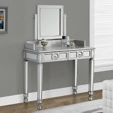 mirrored bedroom vanity table monarch specialties brushed silver bedroom vanity mirror hayneedle