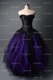 romantic black and purple gothic corset long prom dress 95984