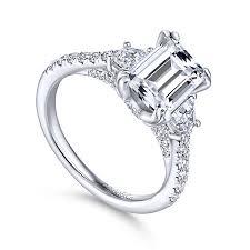 gold emerald engagement rings charlene 18k white gold emerald cut 3 stones engagement ring