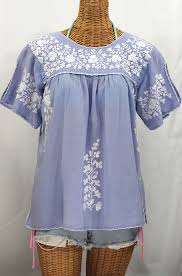 periwinkle blouse la lijera embroidered peasant blouse style periwinkle