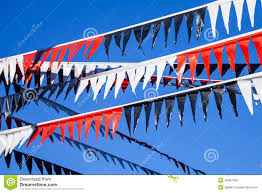 Plastic Flags Decorative Red White And Black Plastic Bunting Flags Stock Image