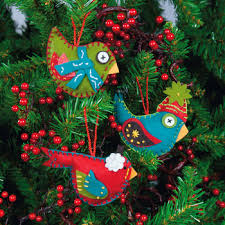 dimensions whimsical birds ornaments felt applique kit
