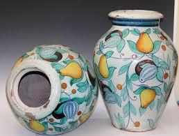 Italian Vase Large Pair Vintage Italian Pottery Faience Majolica Vases Urns Old