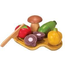 jouet cuisine dinette assortiment de légumes à couper plantoys planwood