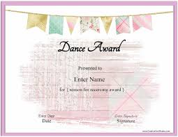 Free Printable Gift Certificate Template Word Free Dance Certificate Template Customizable And Printable