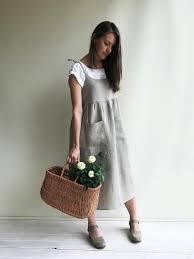 natural linen strap dress womens sundress linen jumper dress