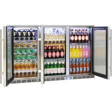 glass door bar fridge rhino 3 door alfresco bar fridge energy efficient