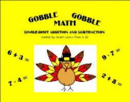 thanksgiving gobble gobble math facts primary smartboard 11 4