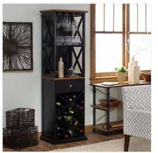 Black Liquor Cabinet Wine Bar Storage Cabinet Liquor Rack Glass Bottle Furniture Home