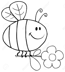 outlined happy bee flying with flower in sky royalty free cliparts