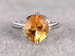 10mm diamond 10mm olive shape citrine engagement ring diamond wedding ring 14k