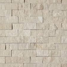 1 x 2 split face mosaic tile beige marble honed wall floor tile