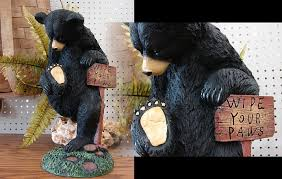 Please Wipe Your Paws Coir Moose R Us Com Resin Black Bear Wipe Your Paws Lodge Porch Sitter