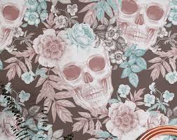 Temporary Wallpaper Uk Hibiscus And Skull Wallpaper Removable Wallpaper Fern