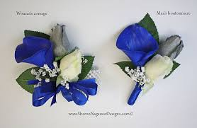 royal blue corsage and boutonniere corsage or boutonniere royal blue white silver grey calla