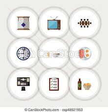 icon bureau flat icon oneday set of bureau television and other