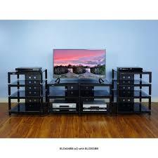 low profile av cabinet vti blg series audio video rack black poles with black glass blg404bb