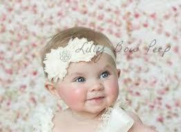 newborn bows ivory baby headband baby girl baptism headband preemie newborn