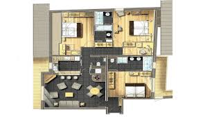 plan de chambre avec dressing et salle de bain chambre familiale 6 personnes méribel le kaïla suite ekrin