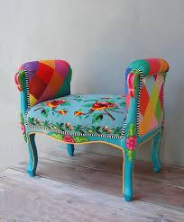 Vanity Chair Stool Rainbow Bench Bohemian Vanity Chair Embroidered Flower Power