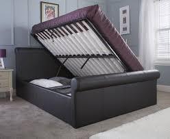 Bed Frame Lift Carol Black Or Brown Side Lift Ottoman Kingsize Sleigh Bed Frame