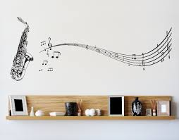 vinyl wall decal sticker saxophone music notes sax 326