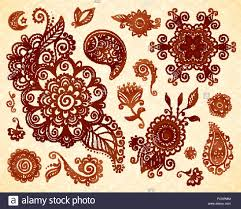 indian mehndi style floral ornaments set stock vector