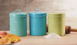 Retro Kitchen Canisters by Global Amici Retro Fifties Metal 3 Piece Kitchen Canister Set