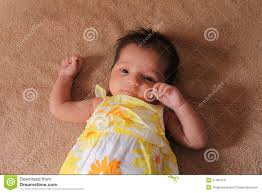 born asian baby in cute dress royalty free stock images