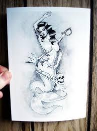 pirate killer mermaid pinup tattoo art mature watercolor black