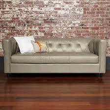 Grey Leather Tufted Sofa Tufted Leather Sofa West Elm