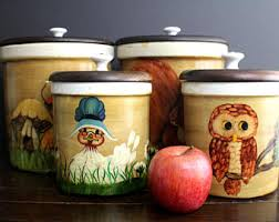 owl canisters for the kitchen woodland kitchen etsy