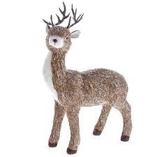 Glitter Deer Christmas Decor by Gisela Graham Christmas Glittery Bristle Standing Deer Decoration