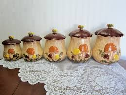 retro arnel u0027s ceramic mushroom embossed canisters 5 canister set