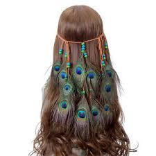 peacock headband weave hair rope headpieces carnival headband peacock feather
